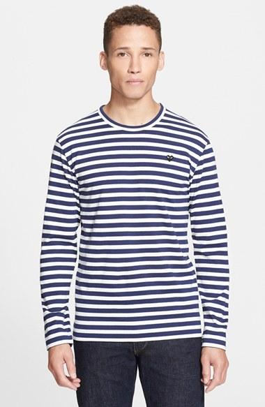 Comme Des Gar Ons Play Stripe T Shirt In Blue For Men Lyst
