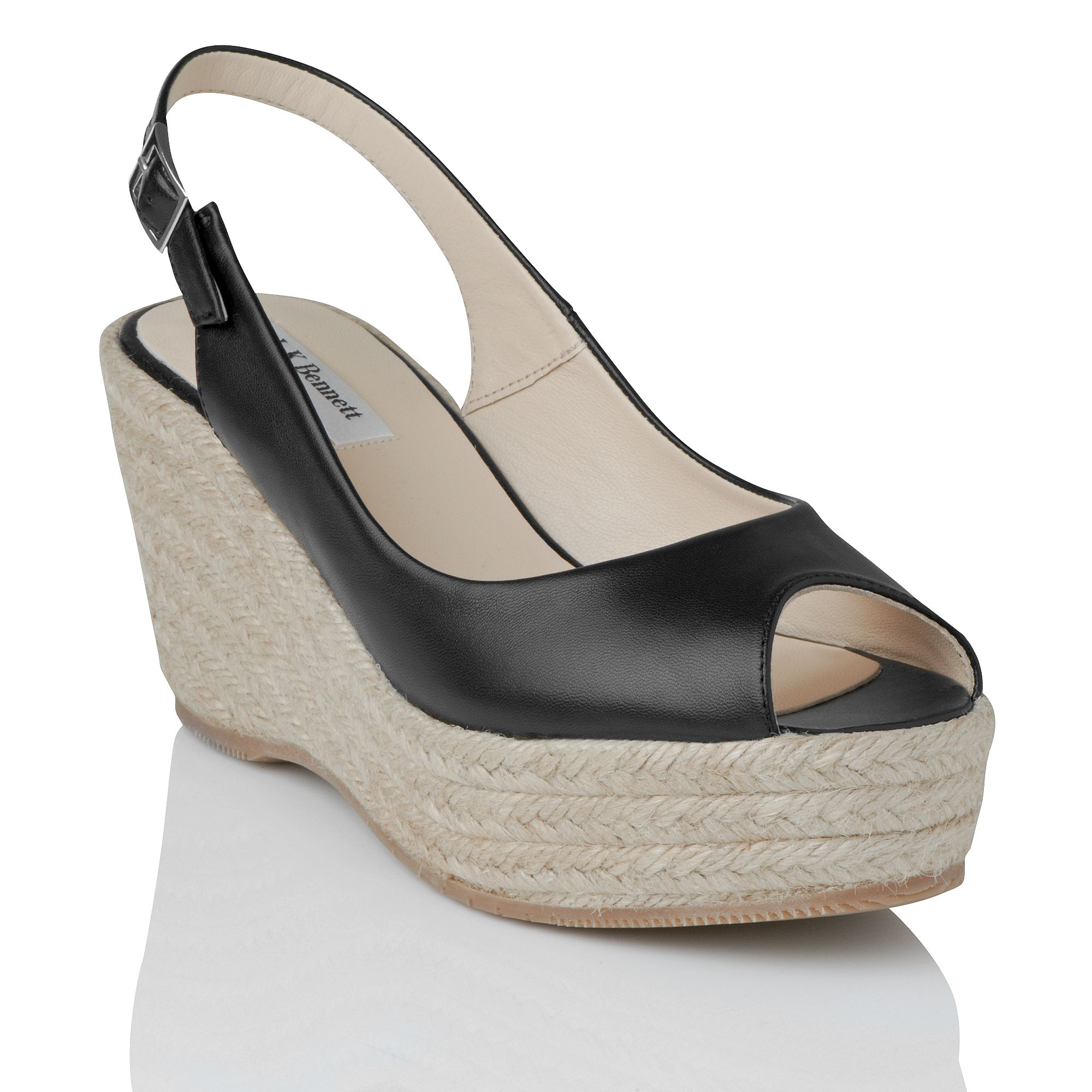 L K Bennett April Leather Open Toe Wedge Shoes In Black Lyst