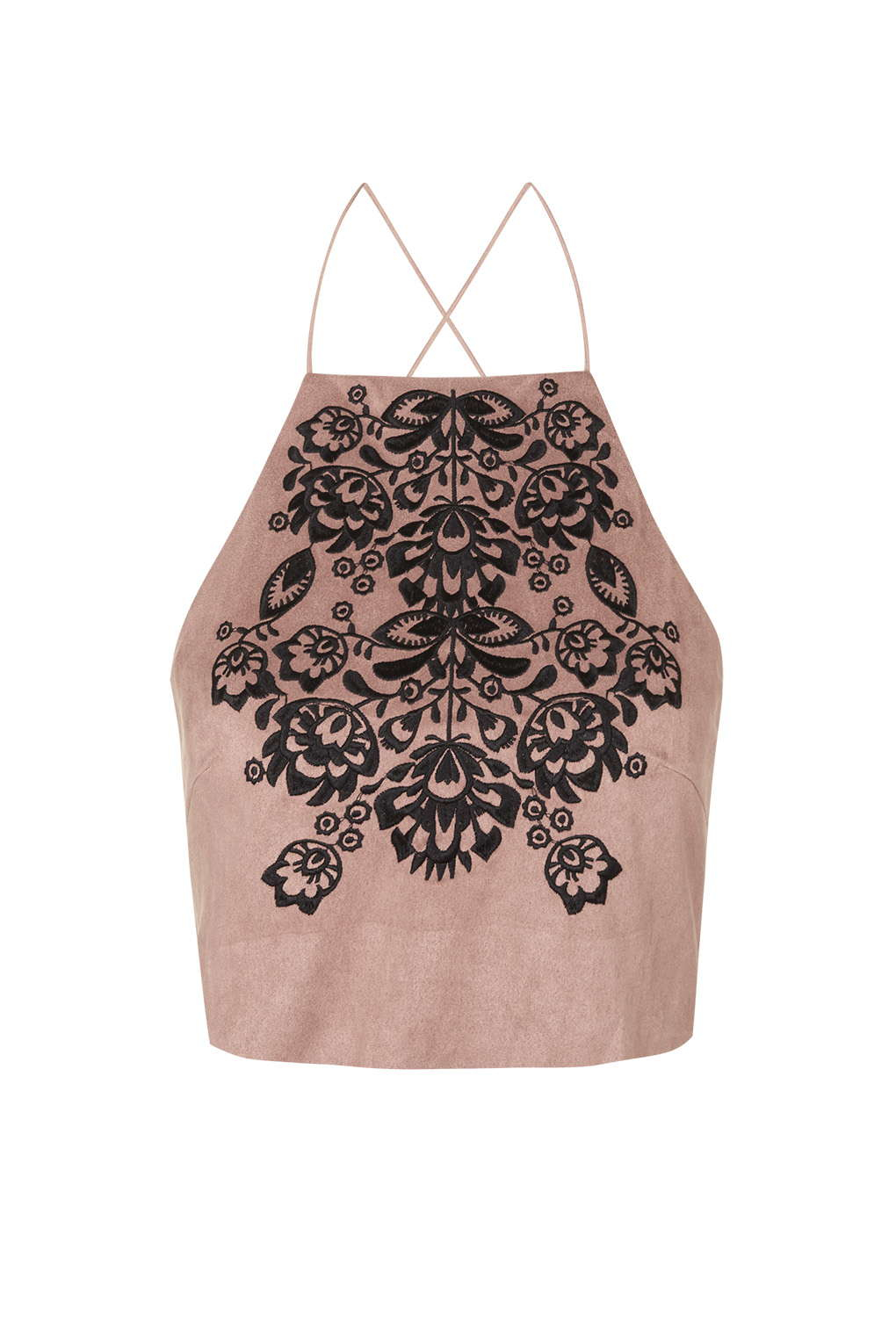 ac2bf90ae8 TOPSHOP Embroidered Faux-suede Crop Top By Rare in Pink - Lyst
