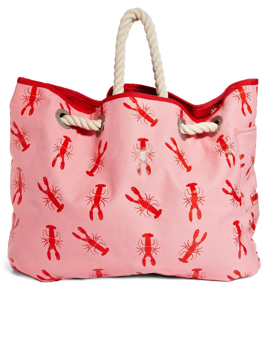 Wildfox white label Wildfox Lobster Print Reversable Beach Bag in ...