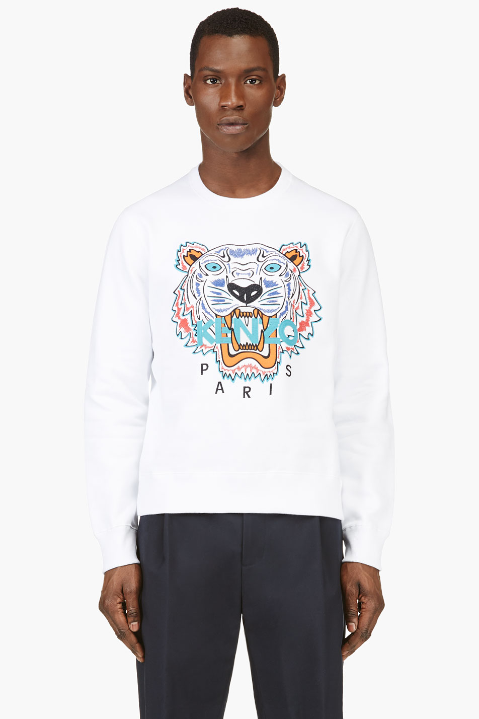 10b2d997995b Lyst - KENZO White Embroidered Tiger Sweater in White for Men