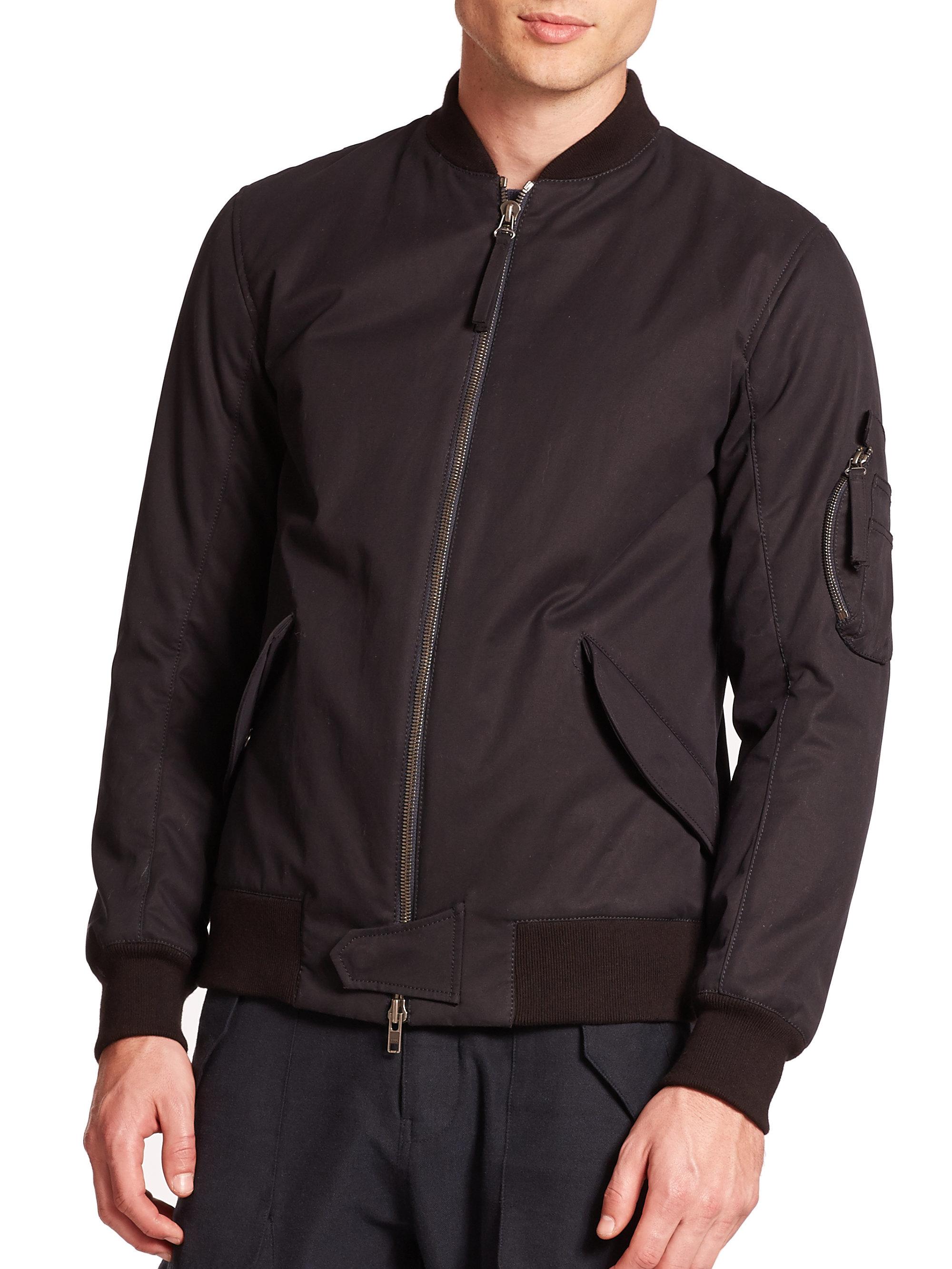 Helmut lang Cotton Twill Bomber Jacket in Black for Men | Lyst