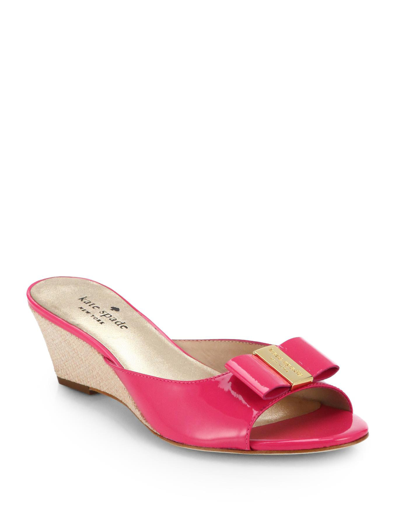1f0ab081754 Lyst - Kate Spade Dixie Patent Leather Wedge Slides in Pink