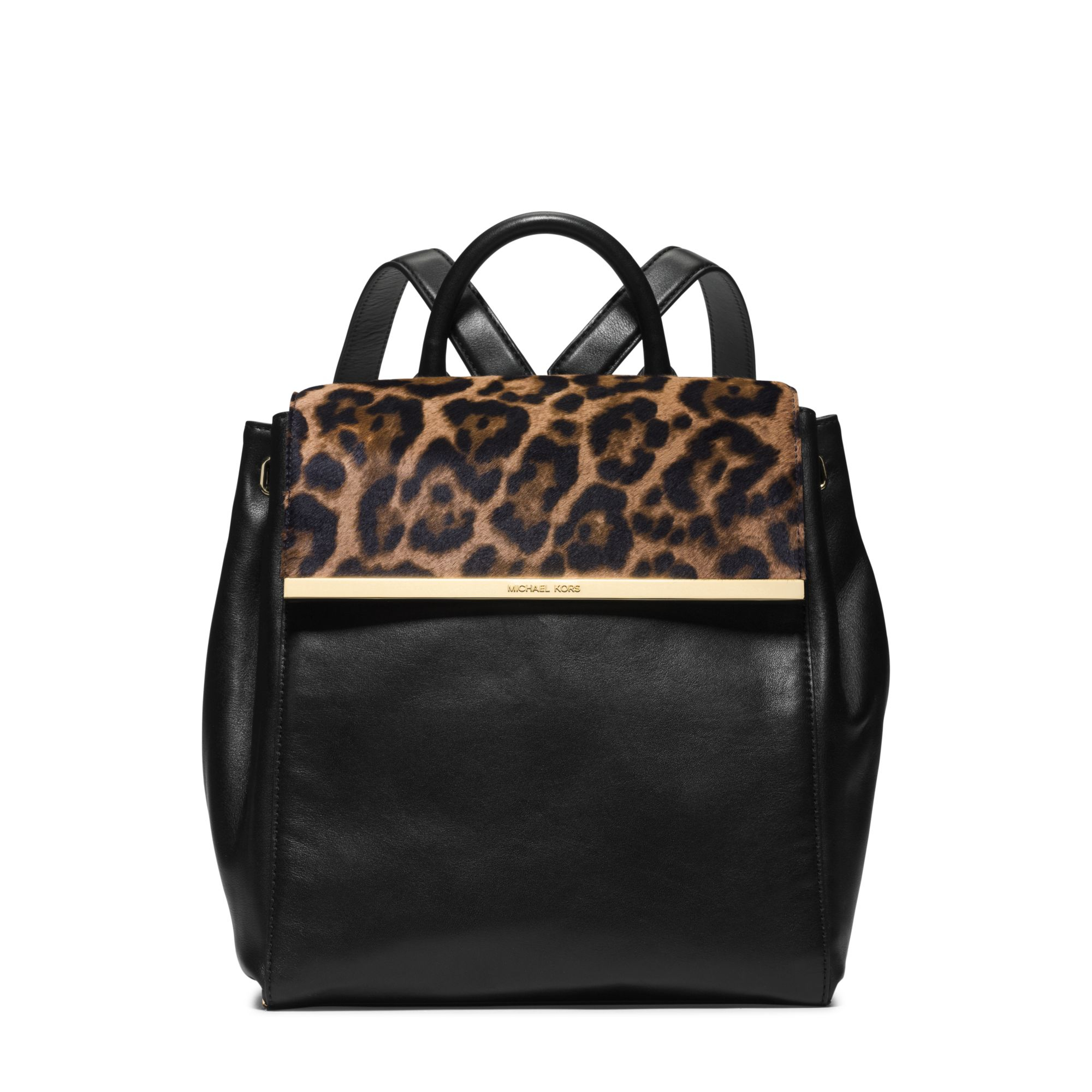 036d3e49ff85 Michael Kors Lana Leopard-Print Hair Calf And Leather Backpack in ...