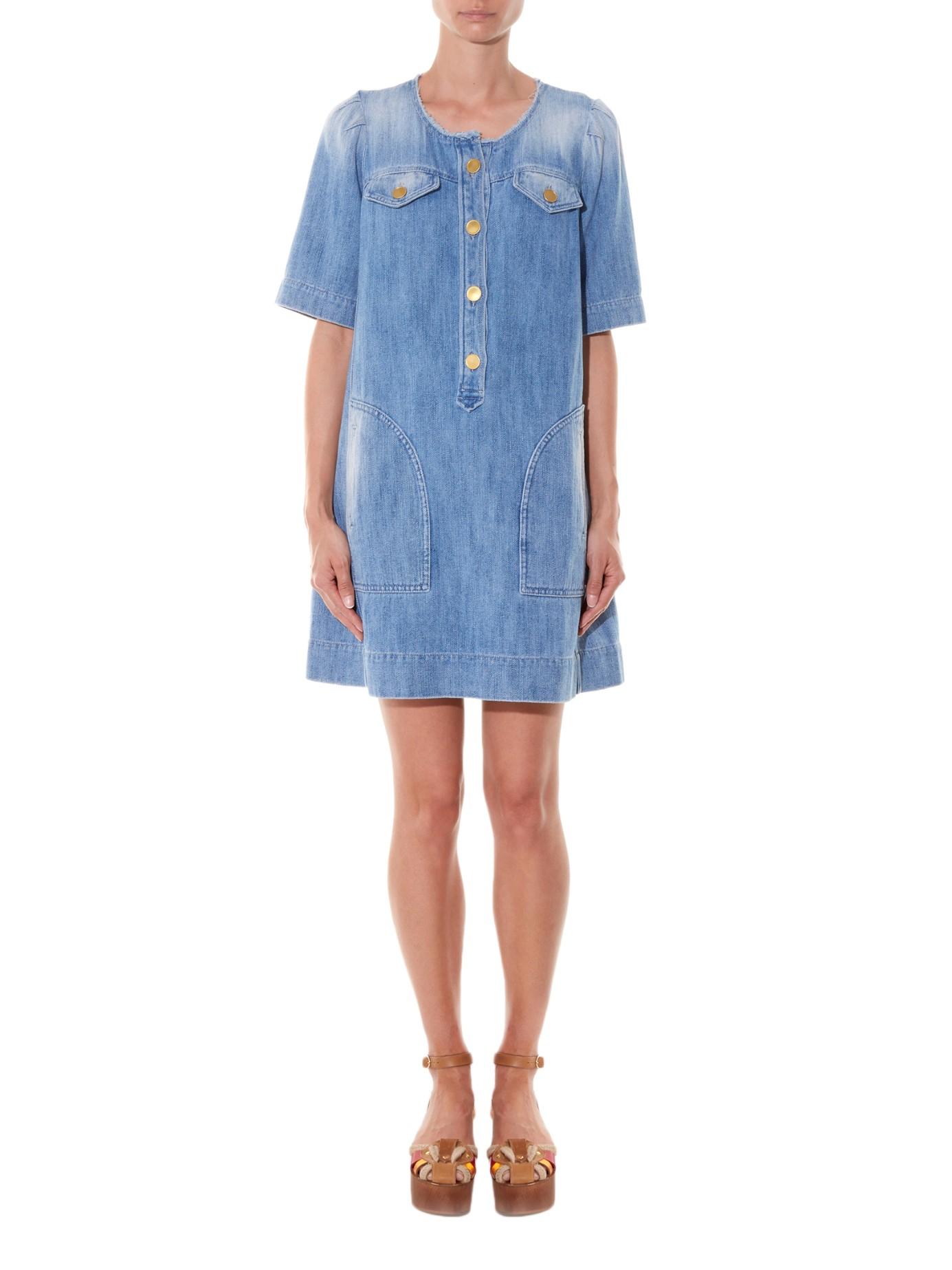 ce210e09cf Lyst - Étoile Isabel Marant Oriane Short-sleeved Denim Dress in Blue