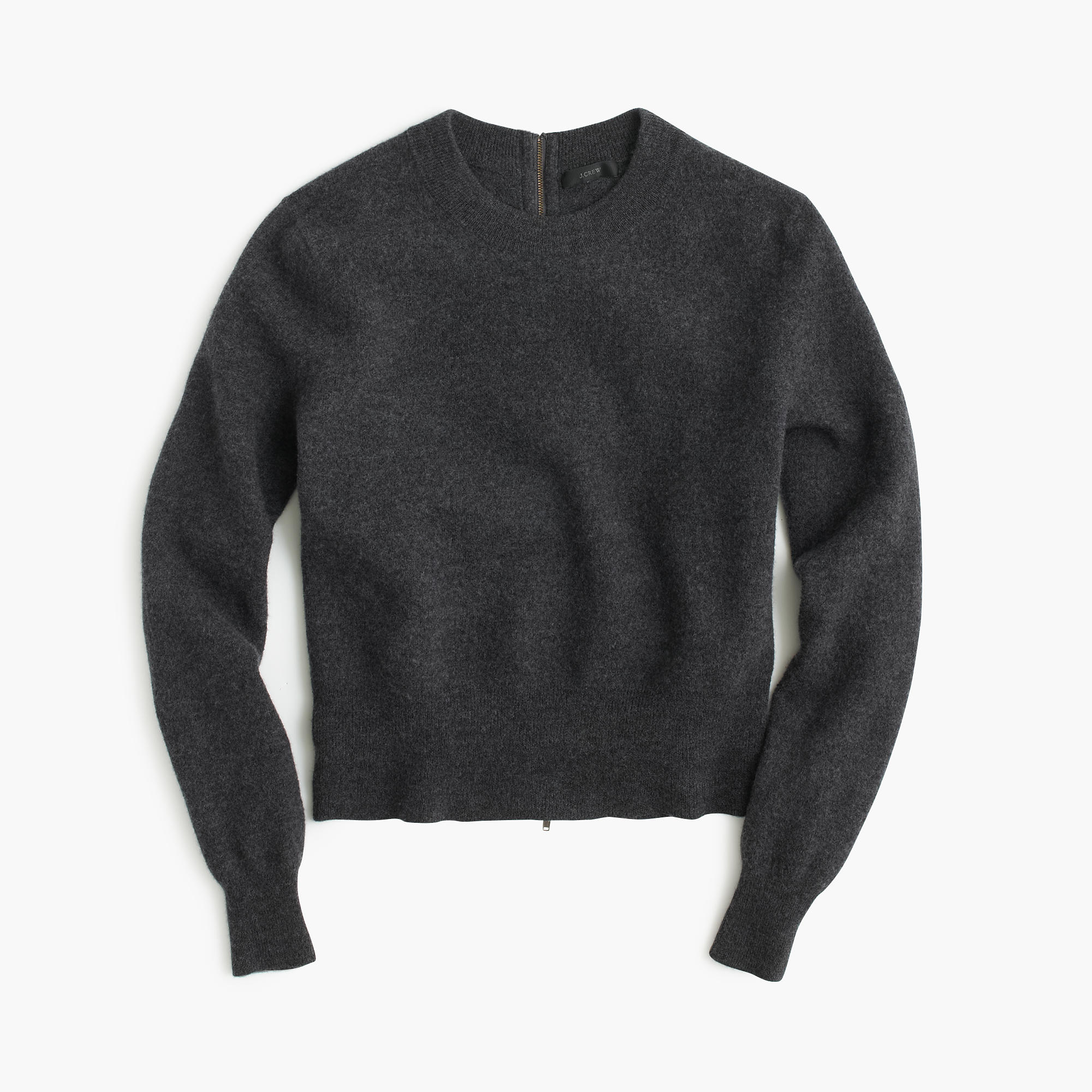 J.crew Wool Back-zip Sweater in Gray | Lyst