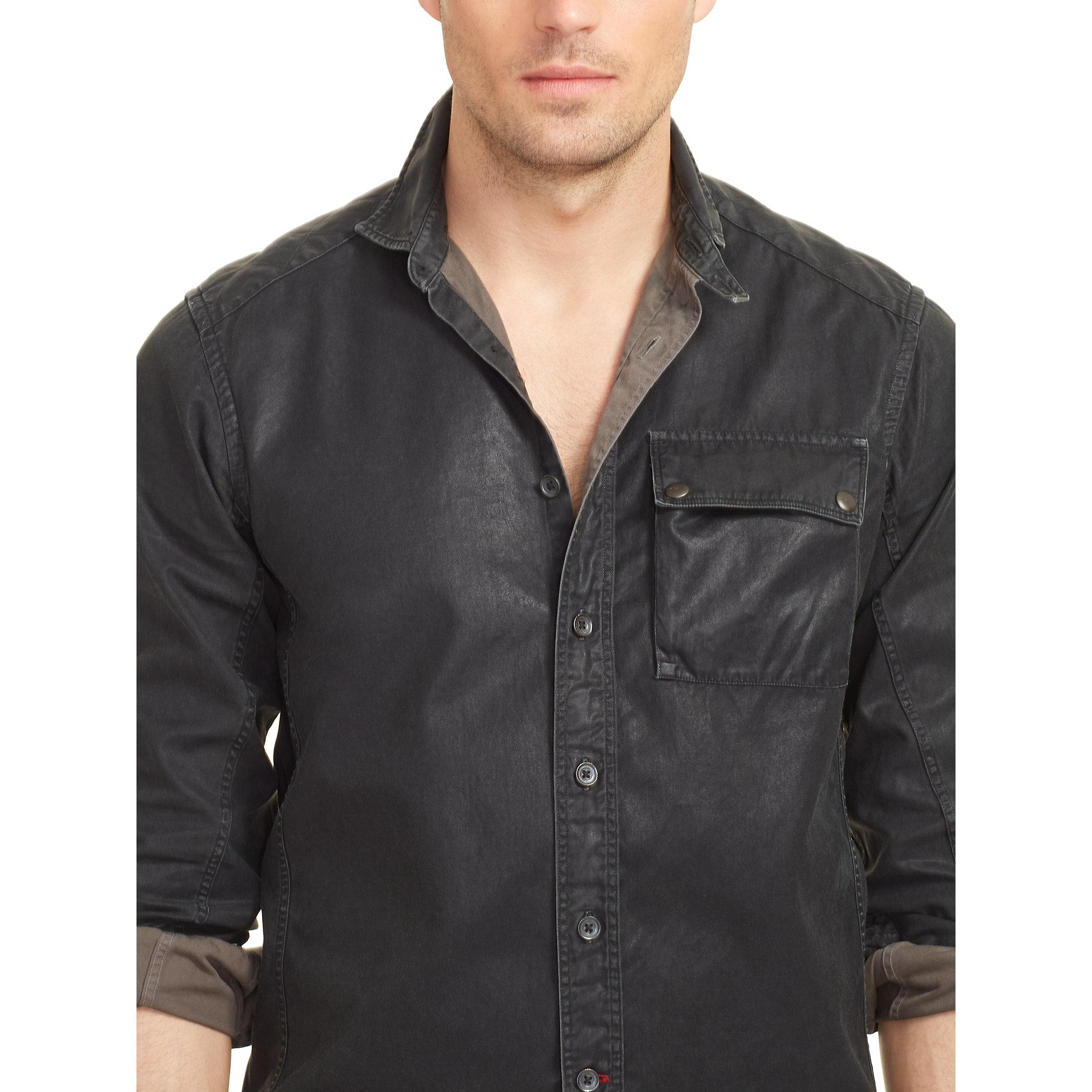 785f5e7ff07d1 Lyst - Ralph Lauren Black Label Coated-cotton-twill Moto Shirt in ...