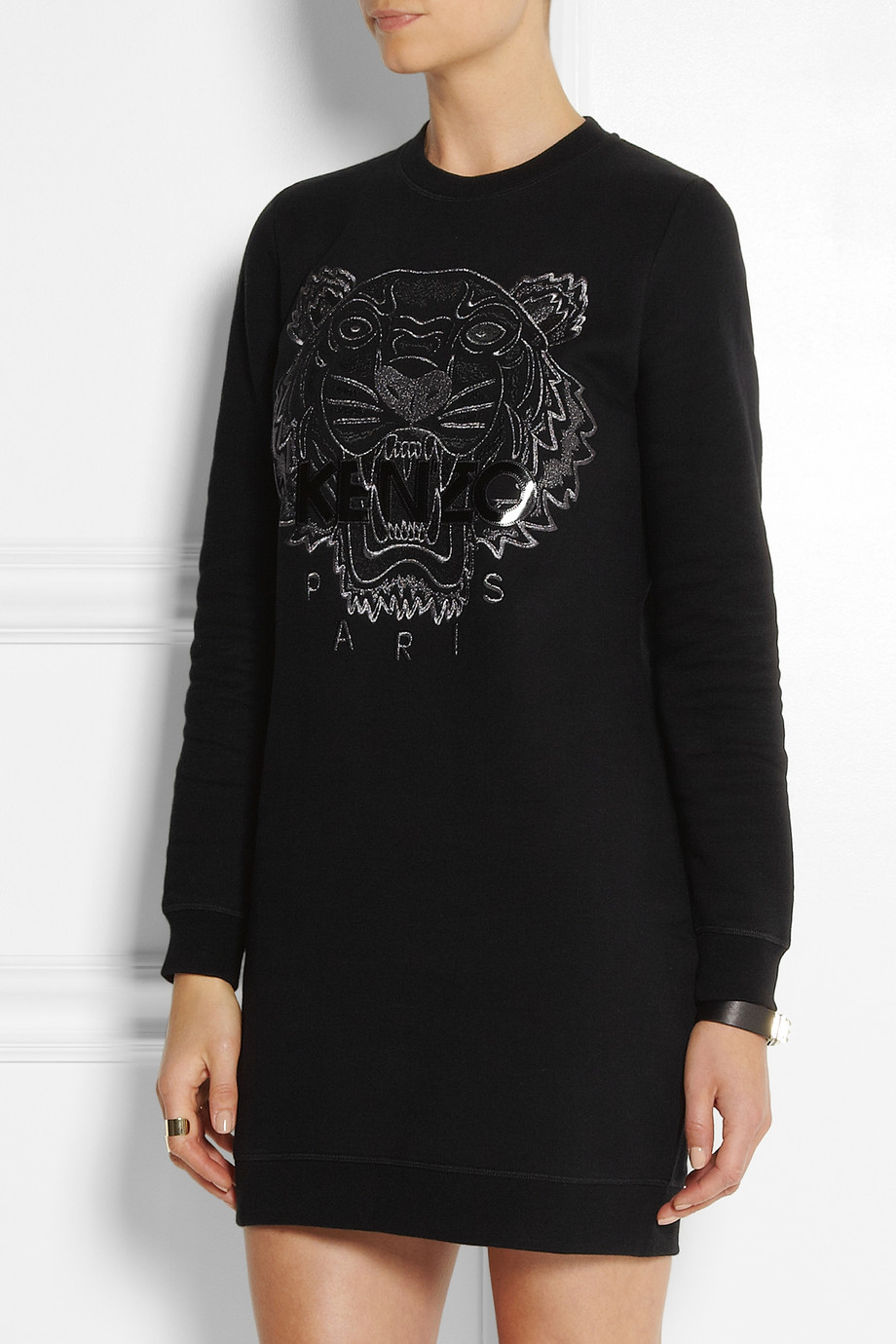 Lyst Kenzo Tiger Embroidered Cotton Sweatshirt Dress In