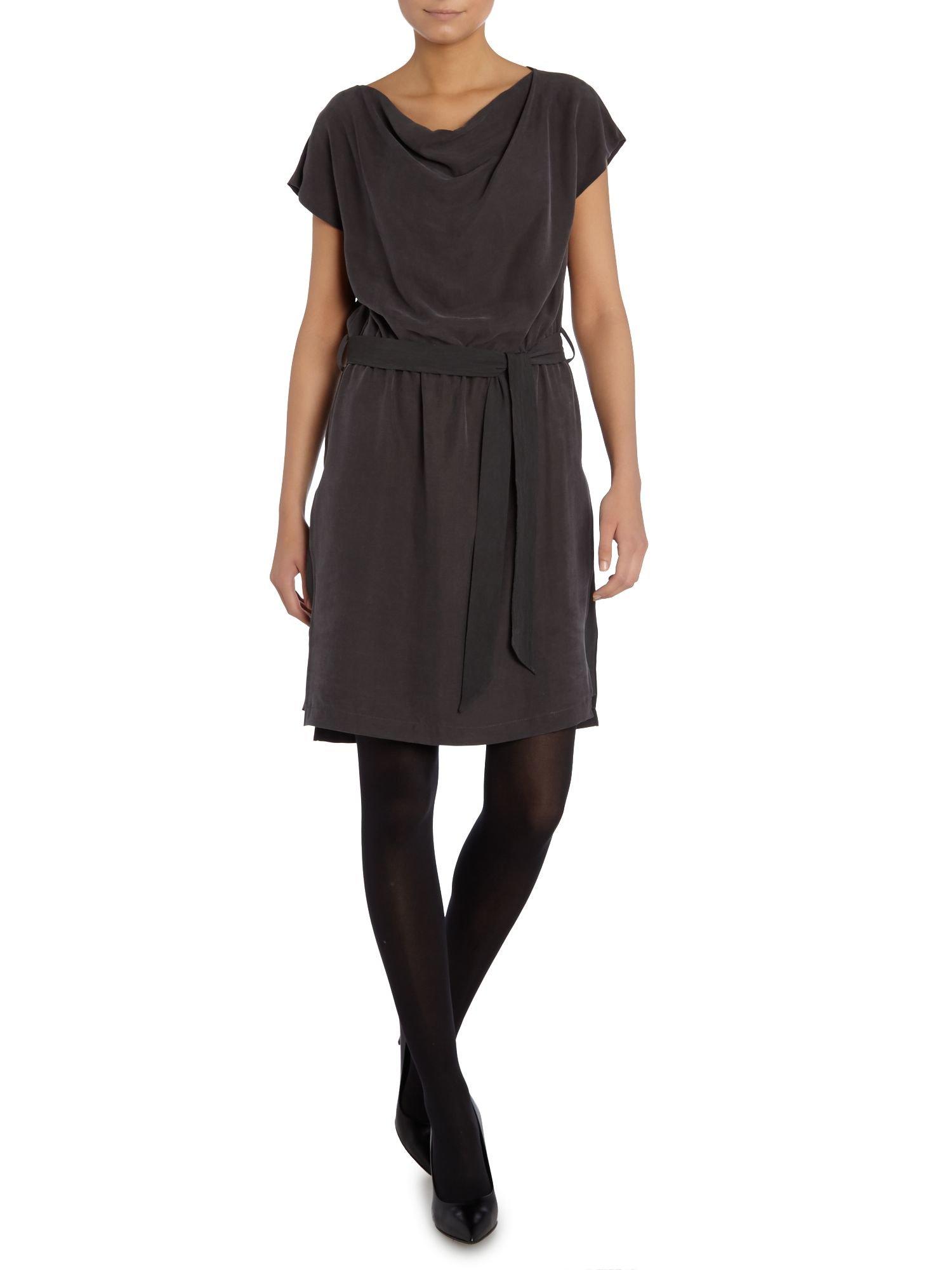 cap sleeve soft belt dress in gray charcoal lyst