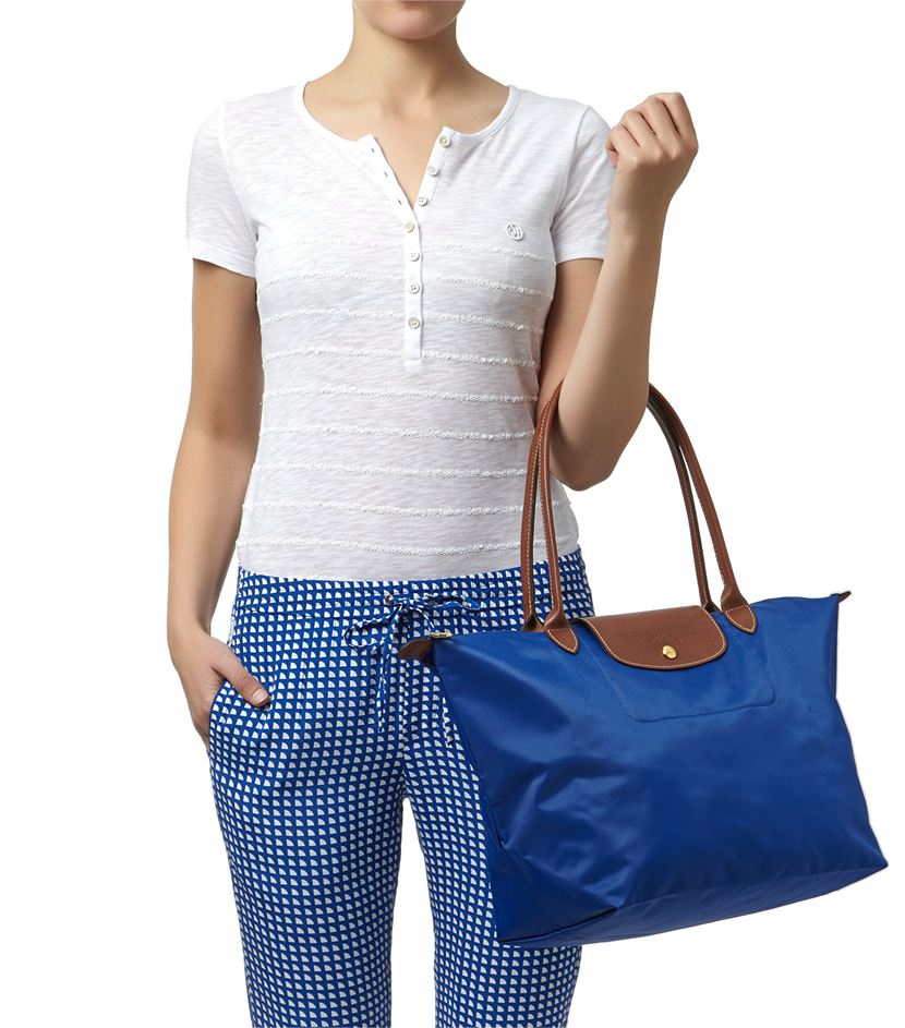 Longchamp Le Pliage Large Shoulder Tote Bag in Black Source · Longchamp Le  Pliage Large Shoulder Bag in Blue Lyst 561e8b0f6ca23