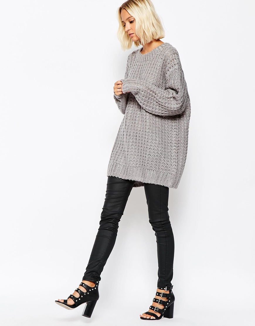 Cheap monday Chunky Oversize Knit Jumper in Gray | Lyst
