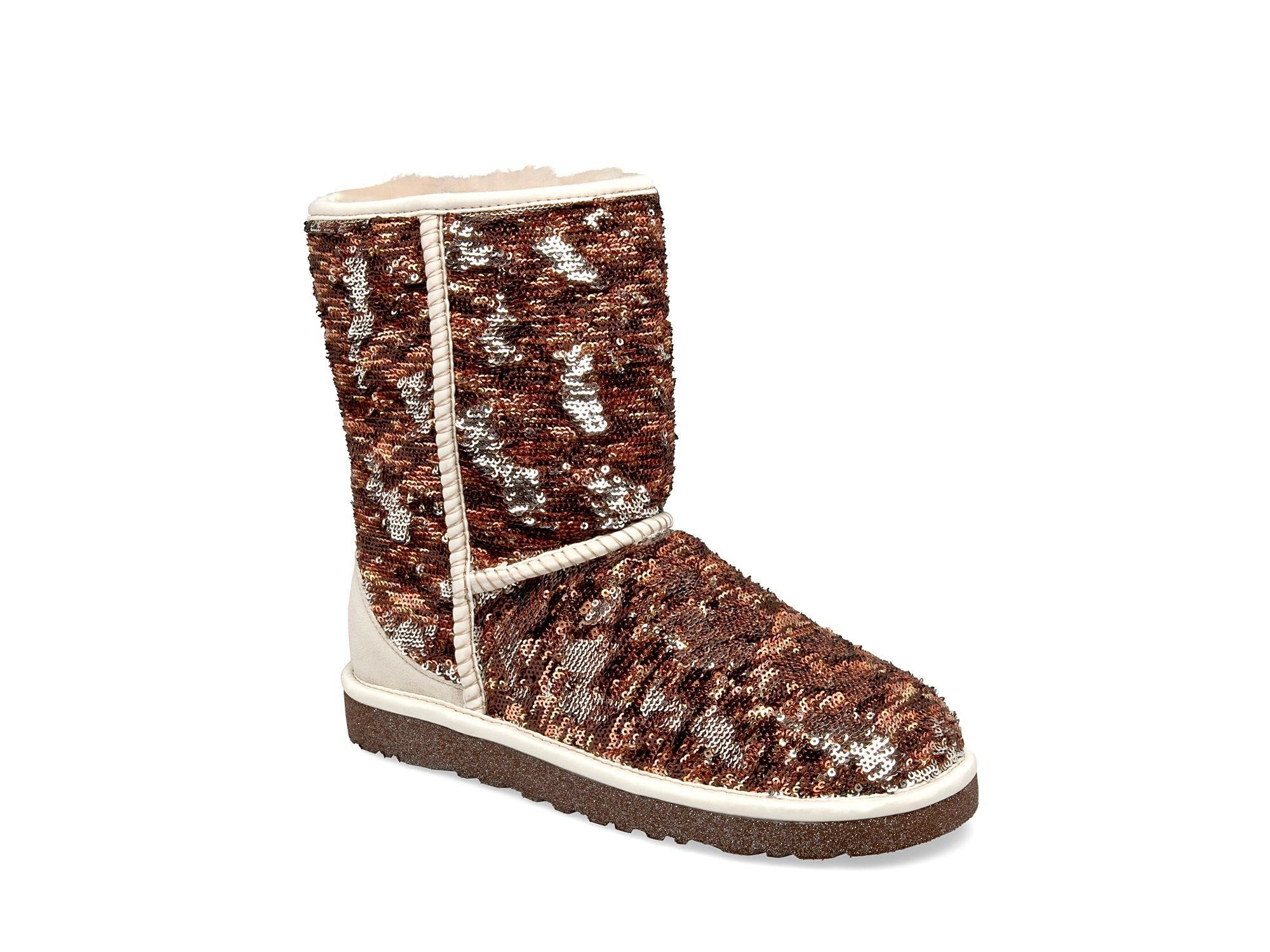 16bd75287fa UGG Brown Classic Short Sparkles Sequin Textile And Suede Boot