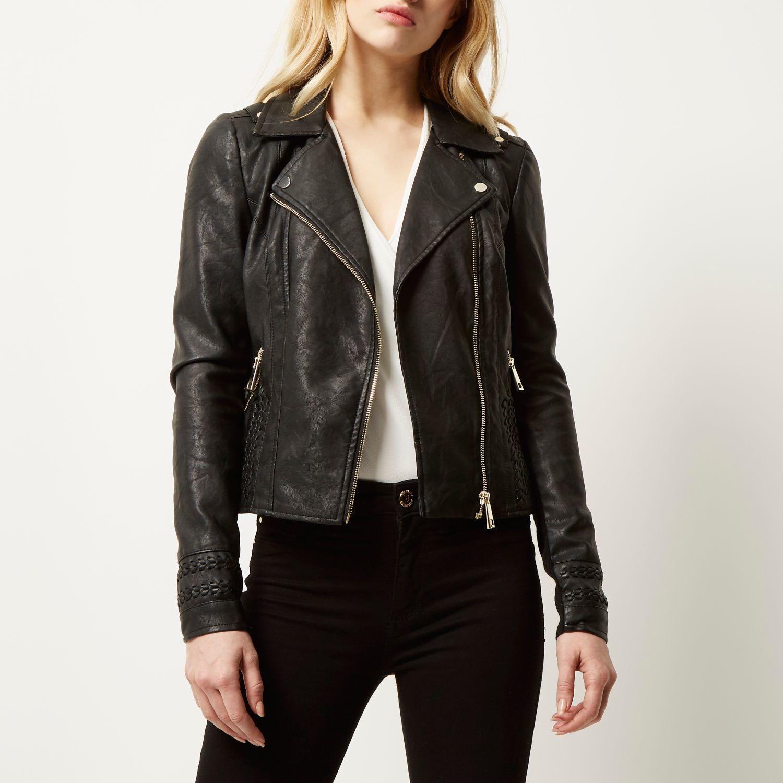 1211761b5 River Island Black Leather Look Whipstitch Biker Jacket