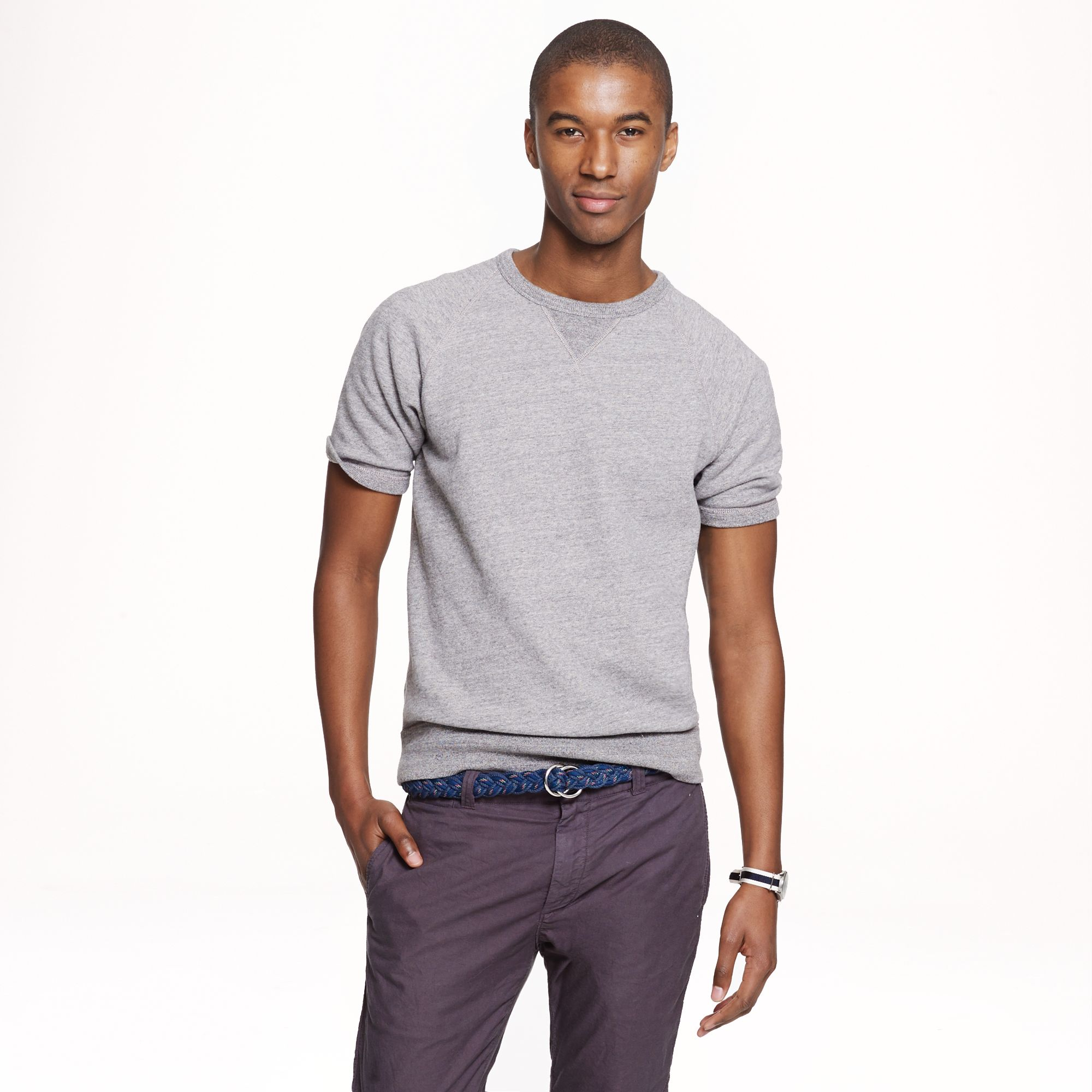 Short sleeve sweatshirt in gray for men lyst for J crew mens outfits