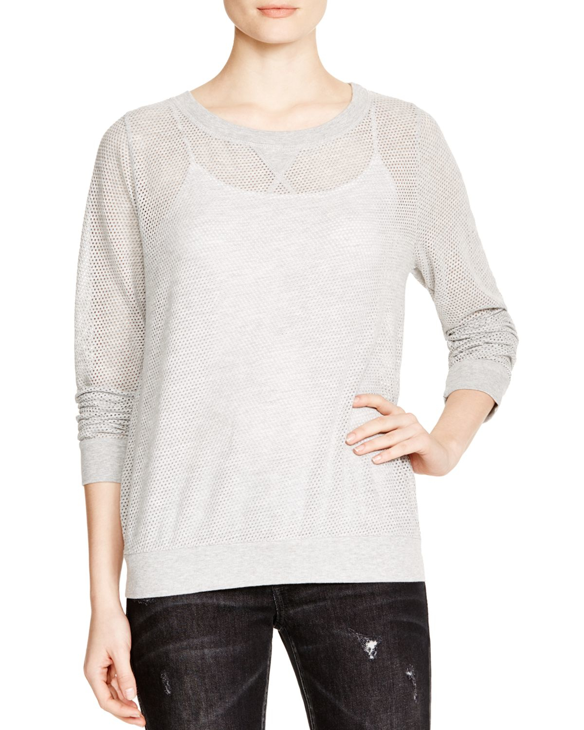 Michael stars mesh sweatshirt in gray heather grey lyst for Michael stars t shirts on sale