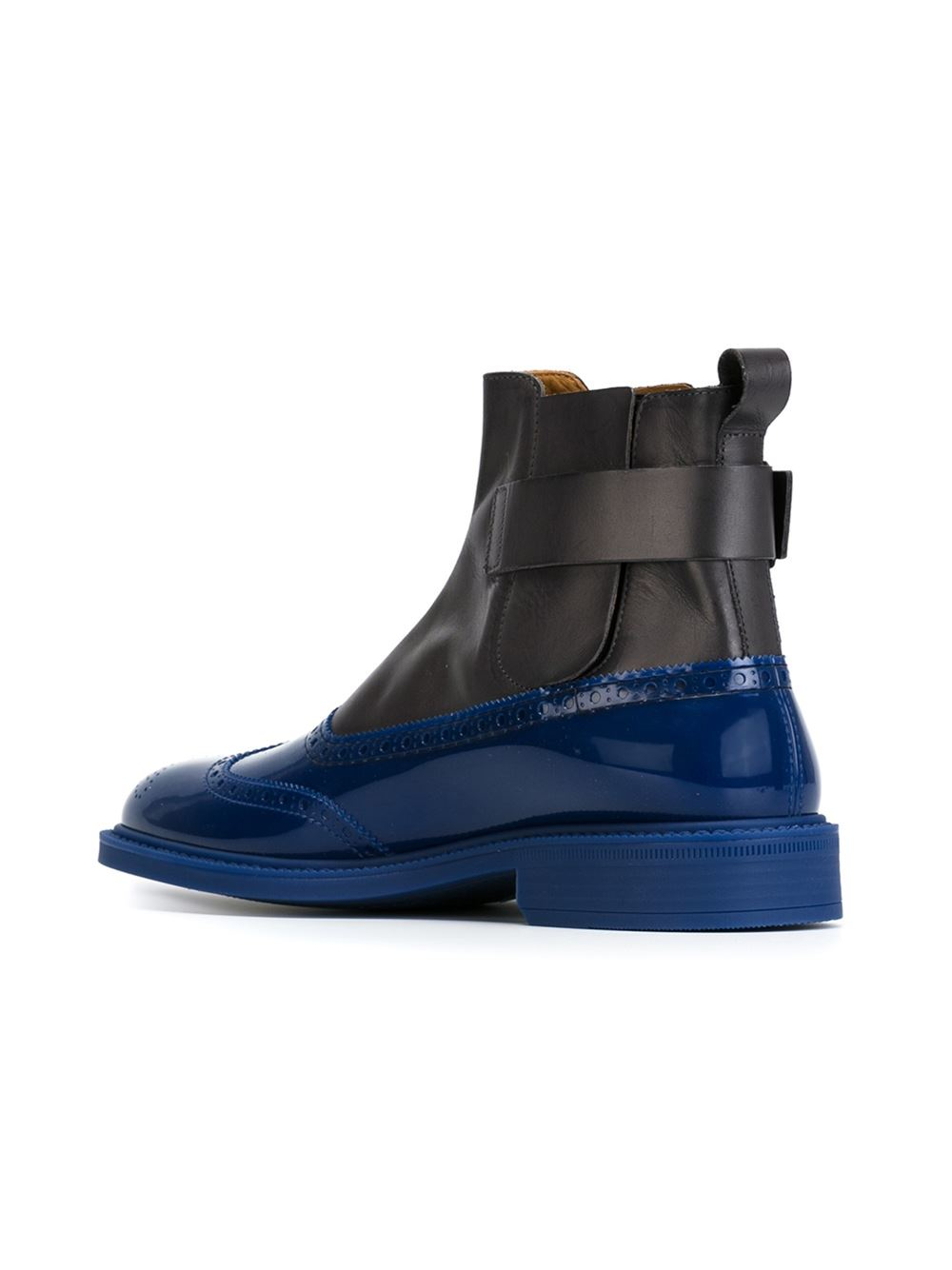 vivienne westwood brogue detailing panelled boots in gray