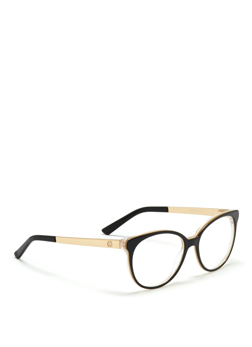 Gucci Eyeglass Frames 2014 : Gucci Metal Arm Acetate Frame Optical Glasses in Black Lyst