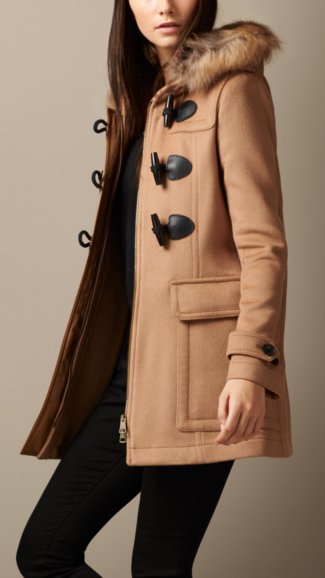 Burberry Detachable Fur Trim Fitted Duffle Coat in Natural   Lyst