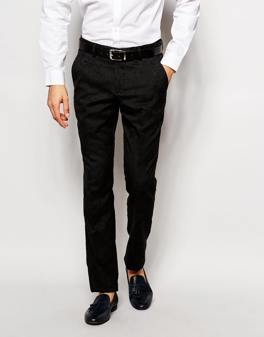 Vito Suit Trousers With Tonal Floral Jacquard In Slim Fit in Black