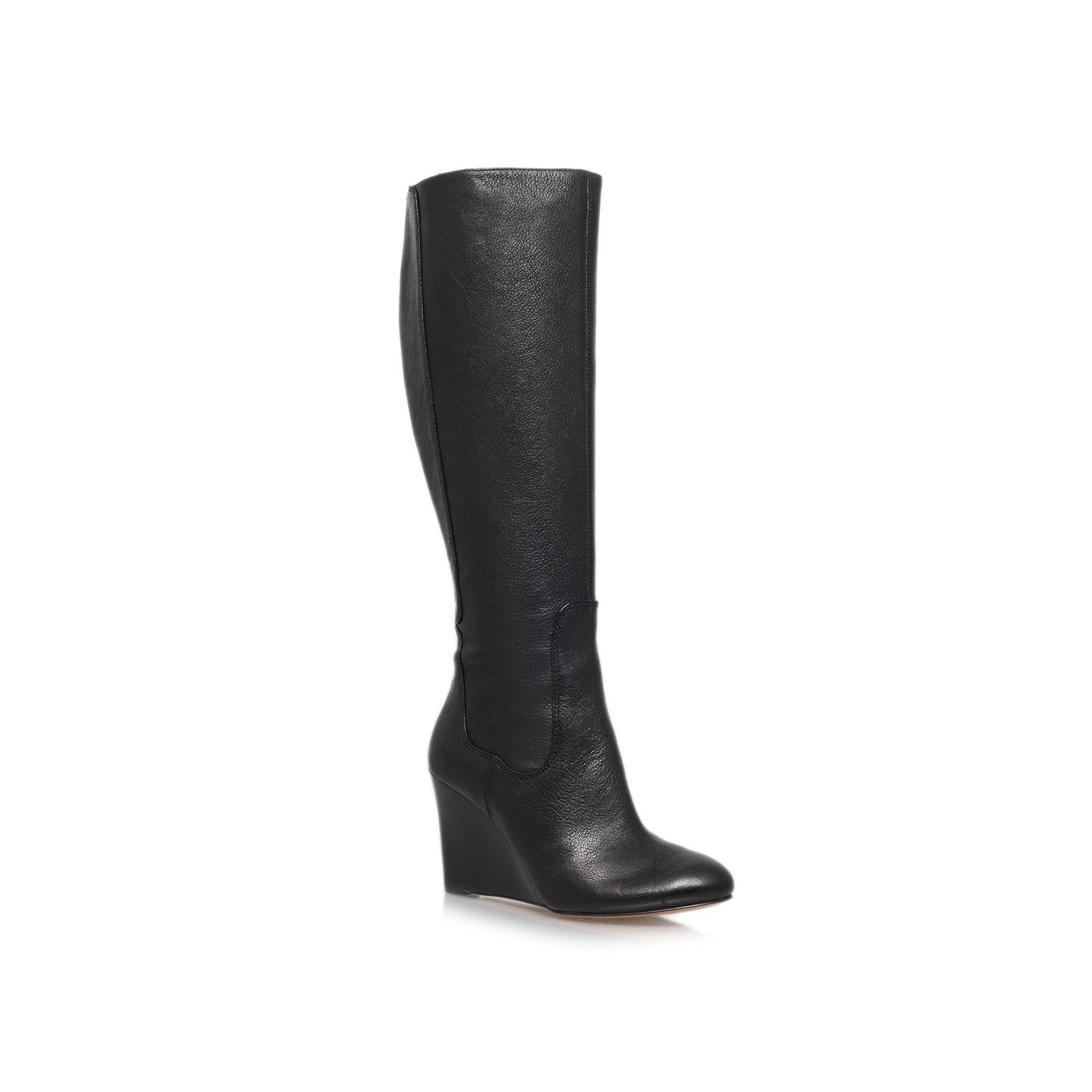 nine west heartset high wedge heeled knee high boot in