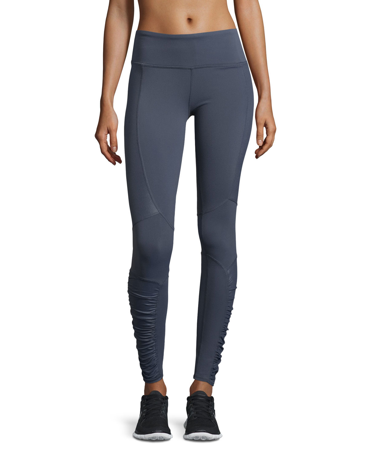 Alo Yoga Runway Ruched Paneled Performance Pants In Gray