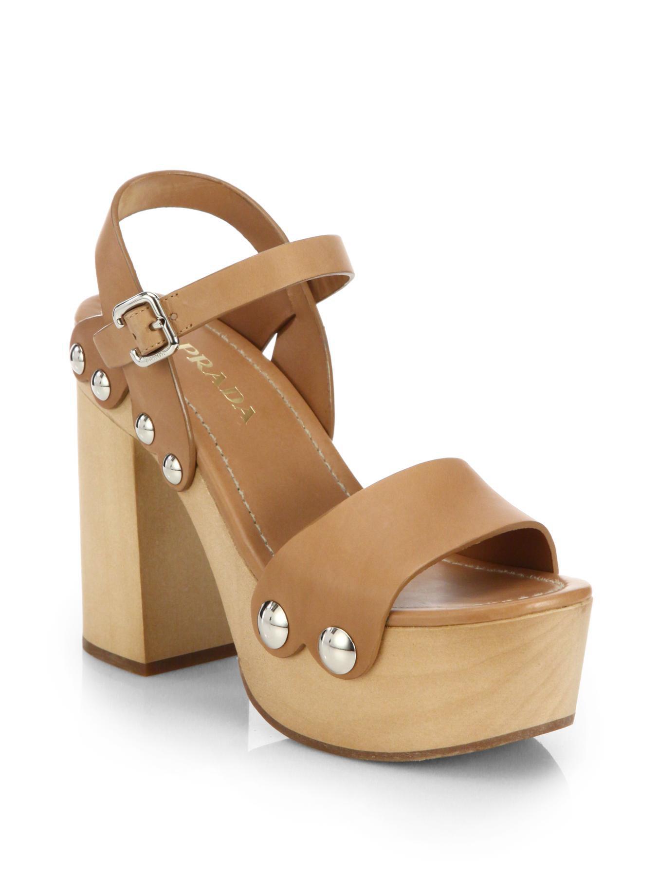 51eab47a734 Lyst - Prada Wooden-heel Leather Platform Sandals in Brown