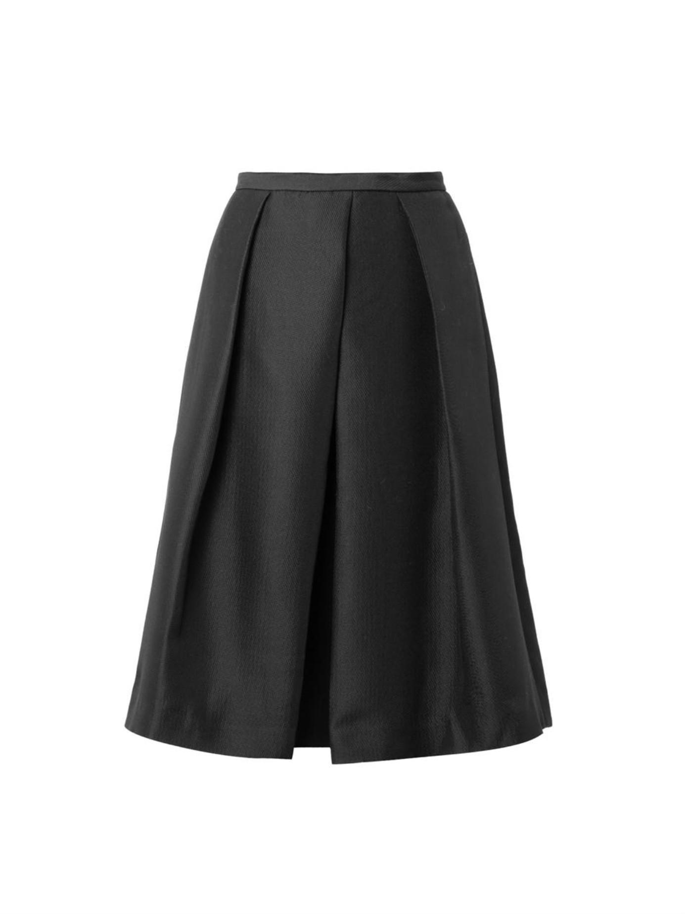 tibi simona jacquard midi skirt in black lyst