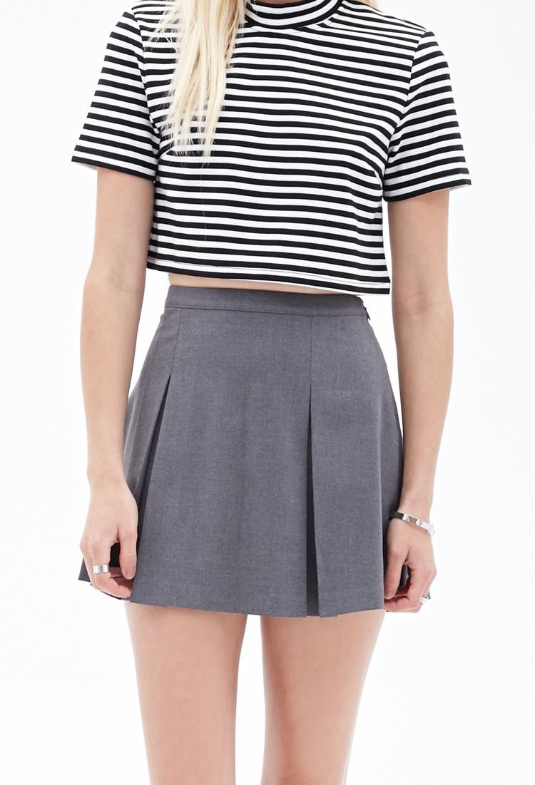 Forever 21 Pleated Mini Skirt in Gray | Lyst