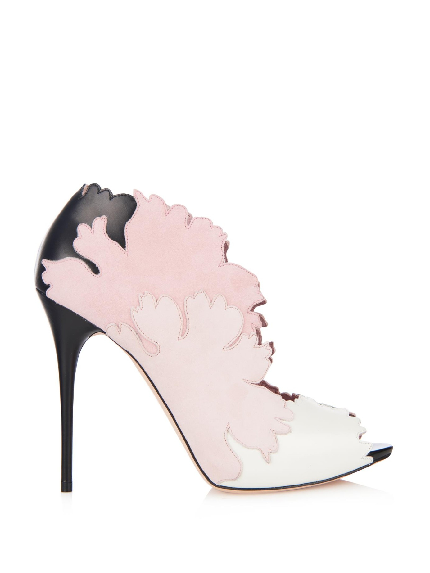 Lyst Alexander Mcqueen Kimono Flower Suede And Leather Shoes In Pink