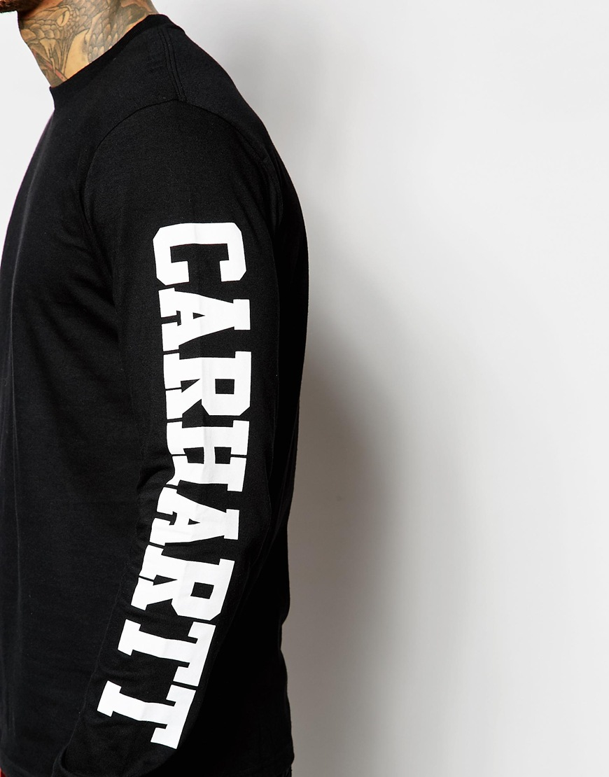 Carhartt wip college long sleeve t shirt with sleeve print for Long sleeve printed t shirts