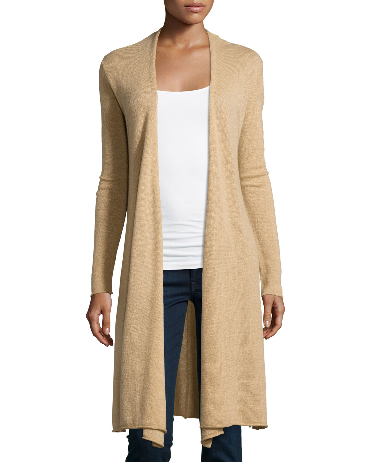 Neiman marcus Cashmere Duster Cardigan in Natural | Lyst