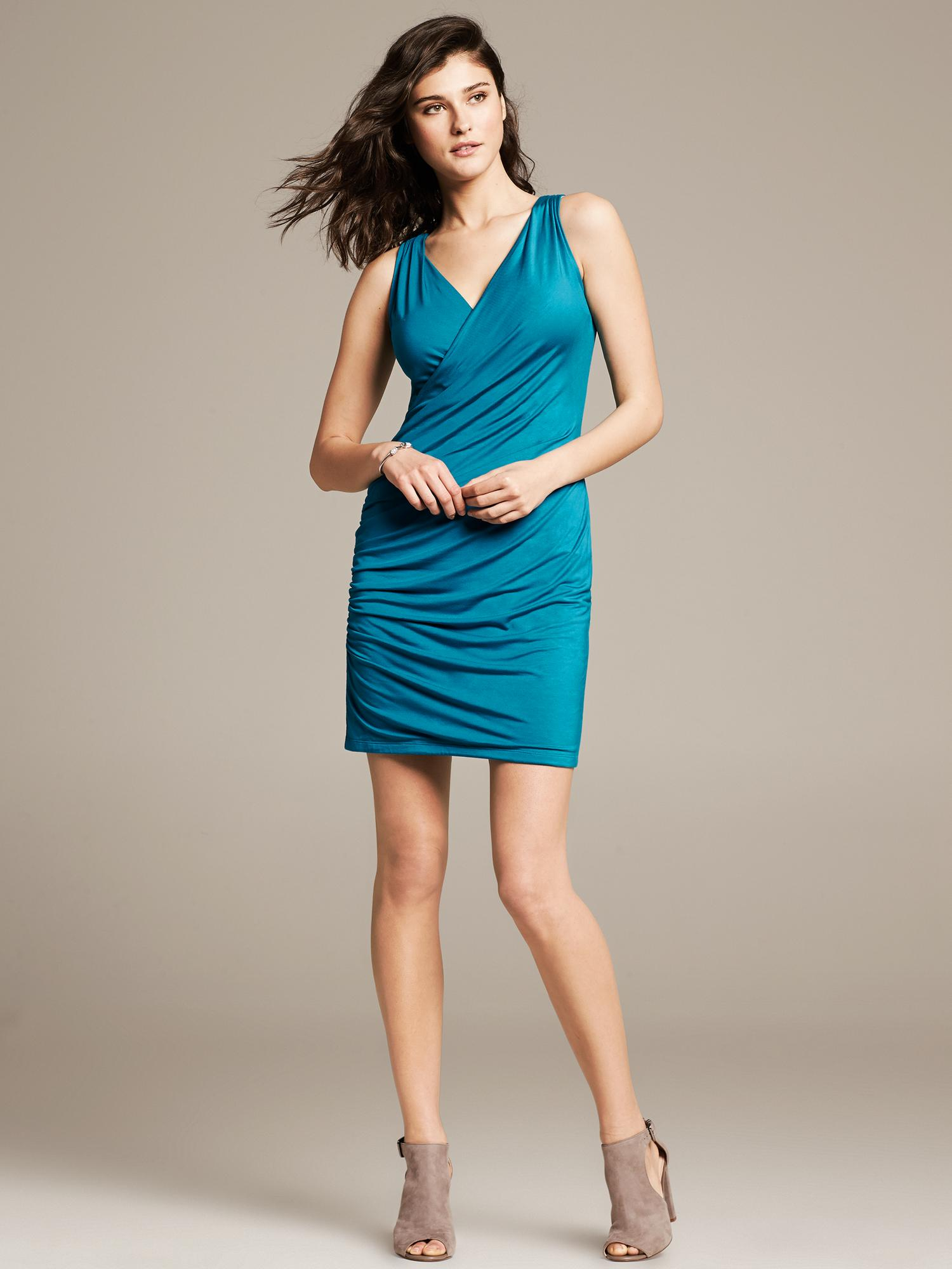 Banana Republic Sleeveless Faux Wrap Knit Dress In Blue Lyst