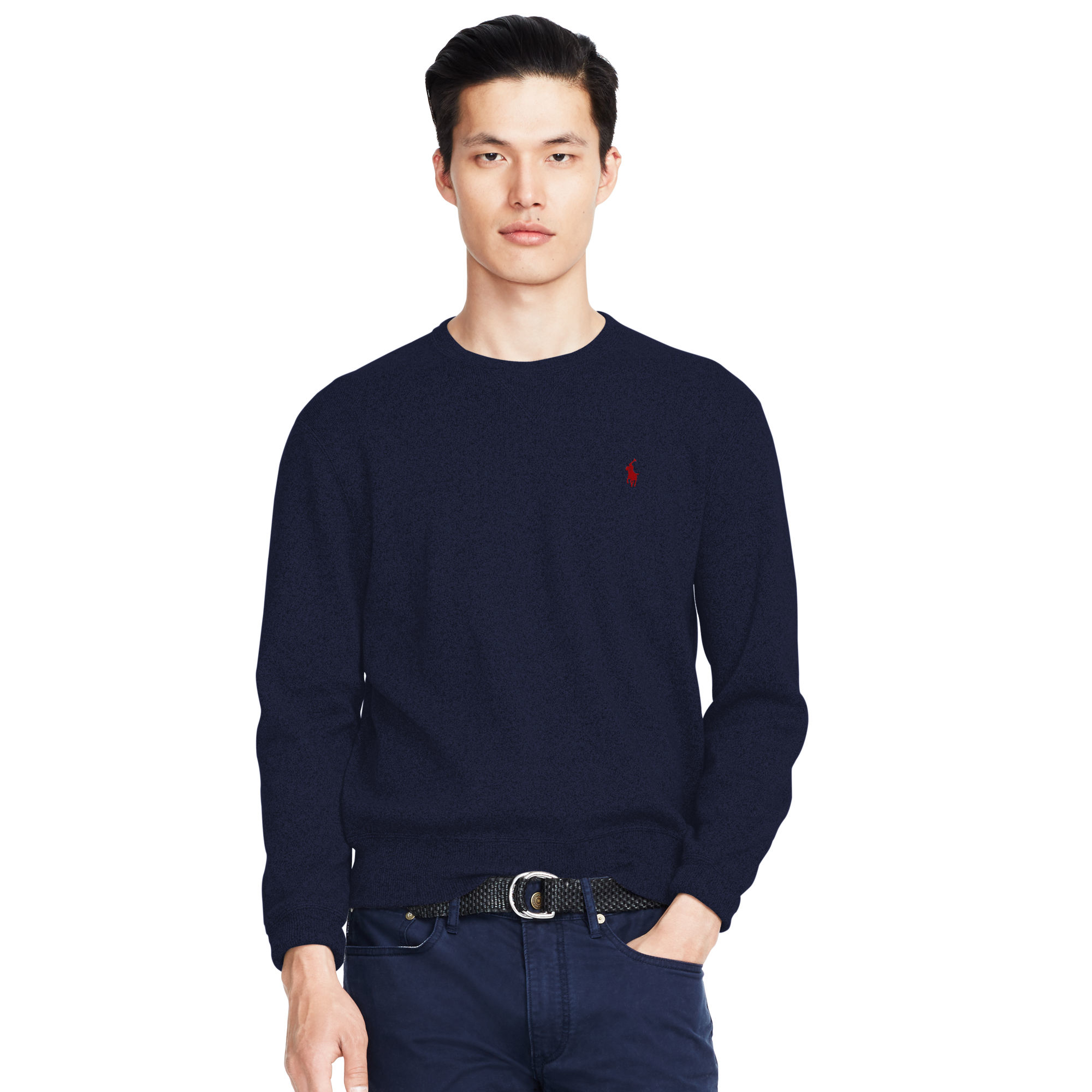 Polo ralph lauren Cotton Crewneck Sweater in Blue for Men | Lyst