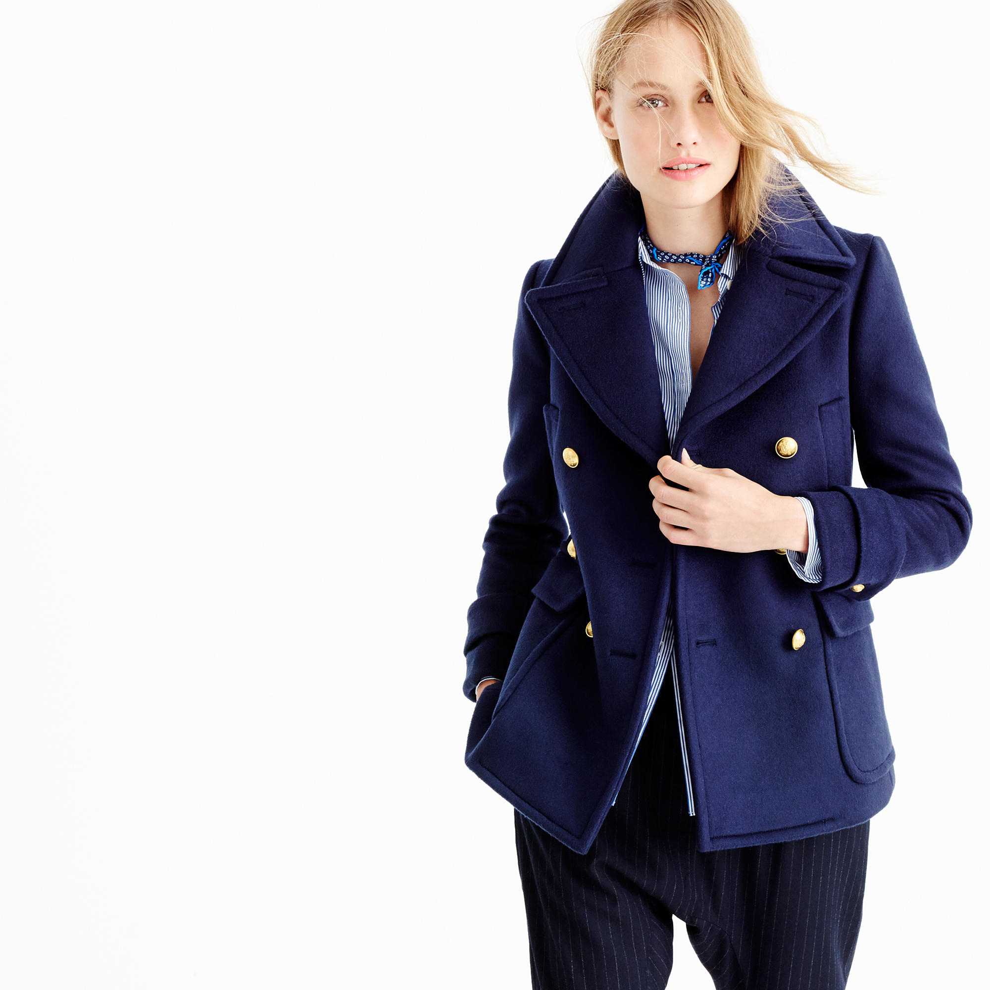 Collection cashmere majesty peacoat in blue lyst for Jcrew com