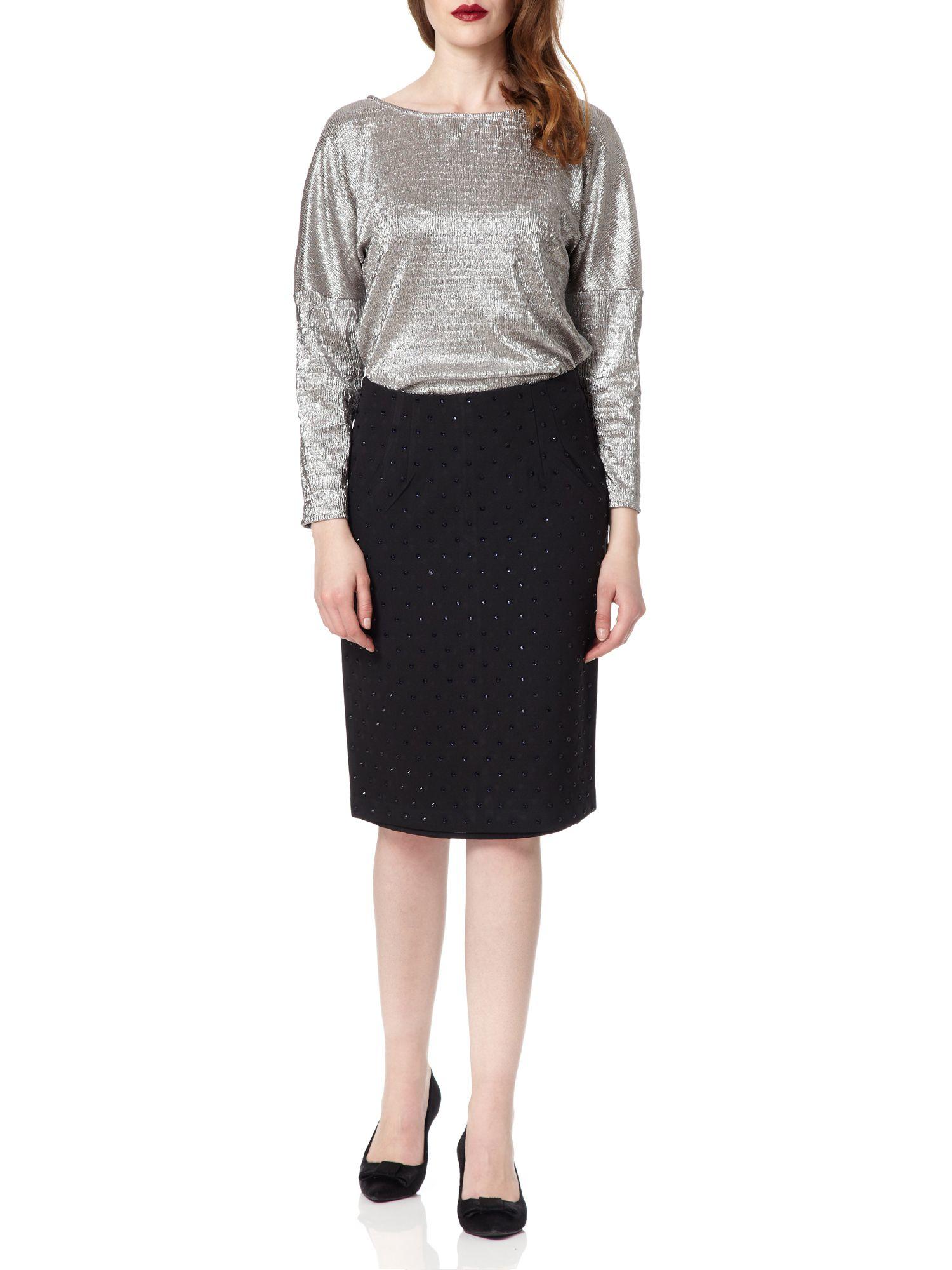 Almost famous metallic foil top in metallic lyst for Silver metallic shirt women s