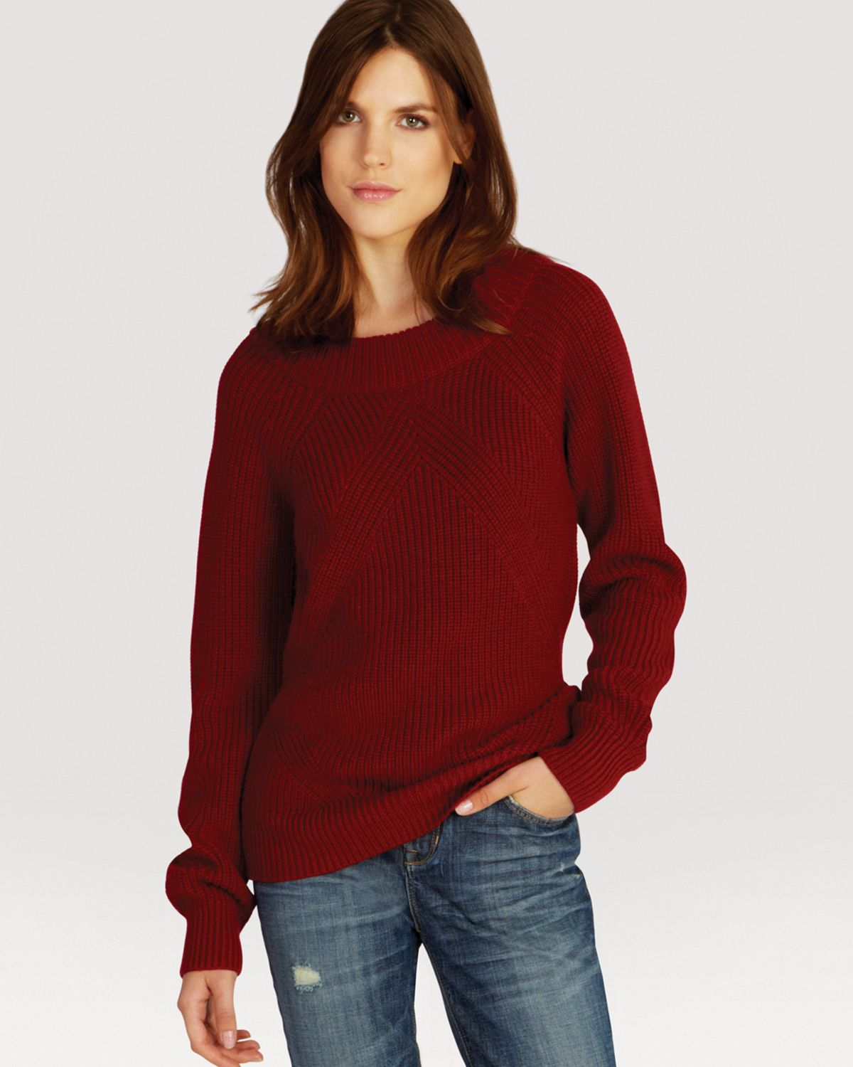 Karen Millen Sweater - '50S Boat Neck in Red (Dark Red) | Lyst