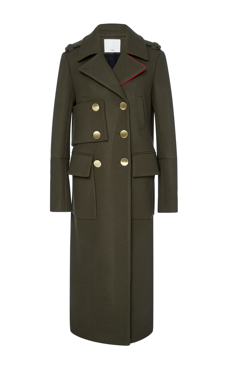 Tibi Olive Maxi Length Wool Coat in Green | Lyst