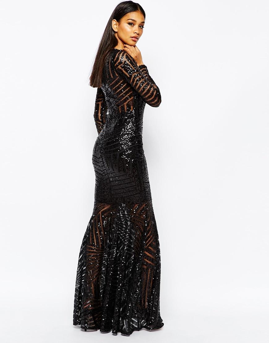 428d63414e5 Club L All Over Sequin Fishtail Maxi Dress in Black - Lyst