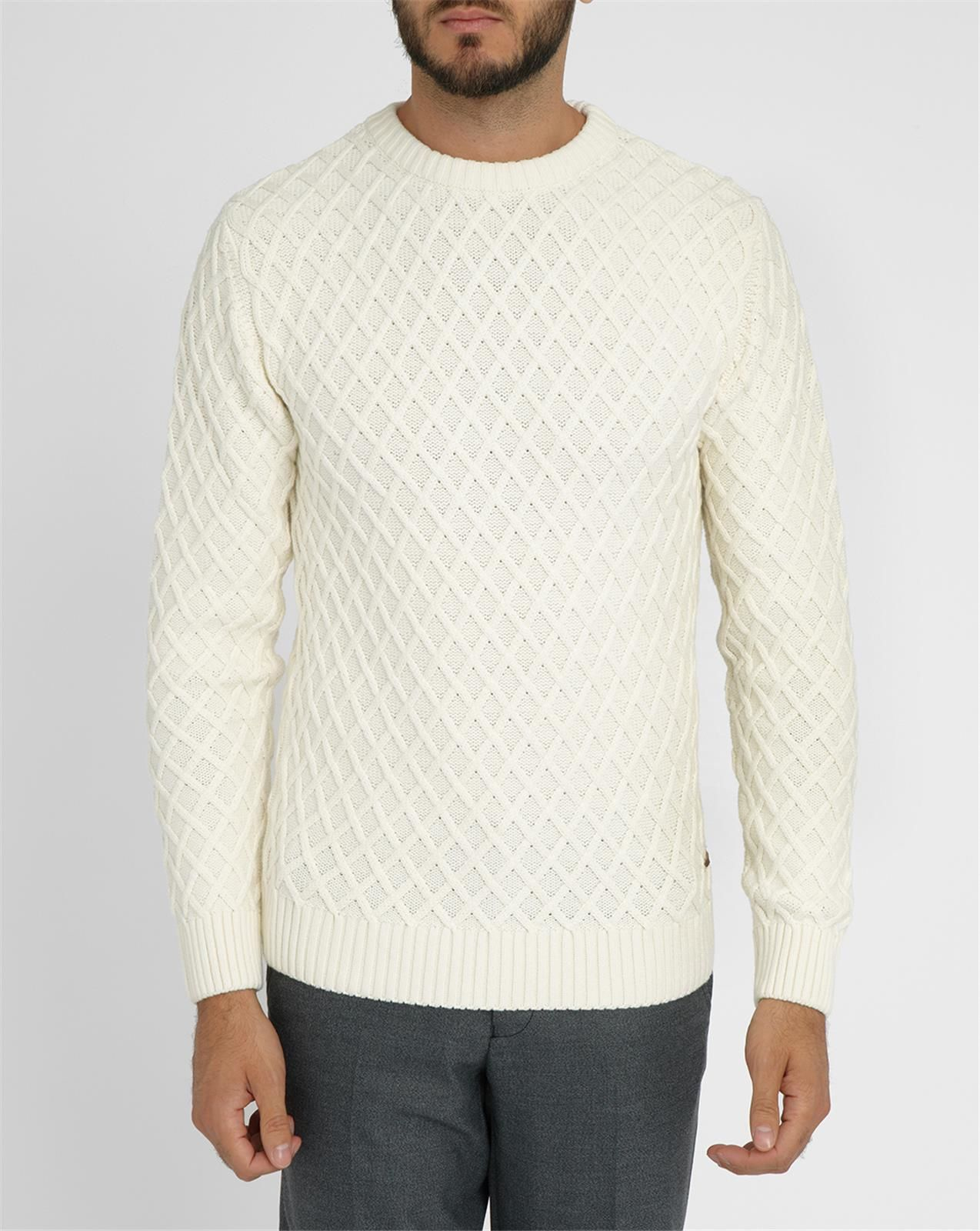 knowledge cotton apparel white diamond knitted round neck sweater in white for men lyst. Black Bedroom Furniture Sets. Home Design Ideas