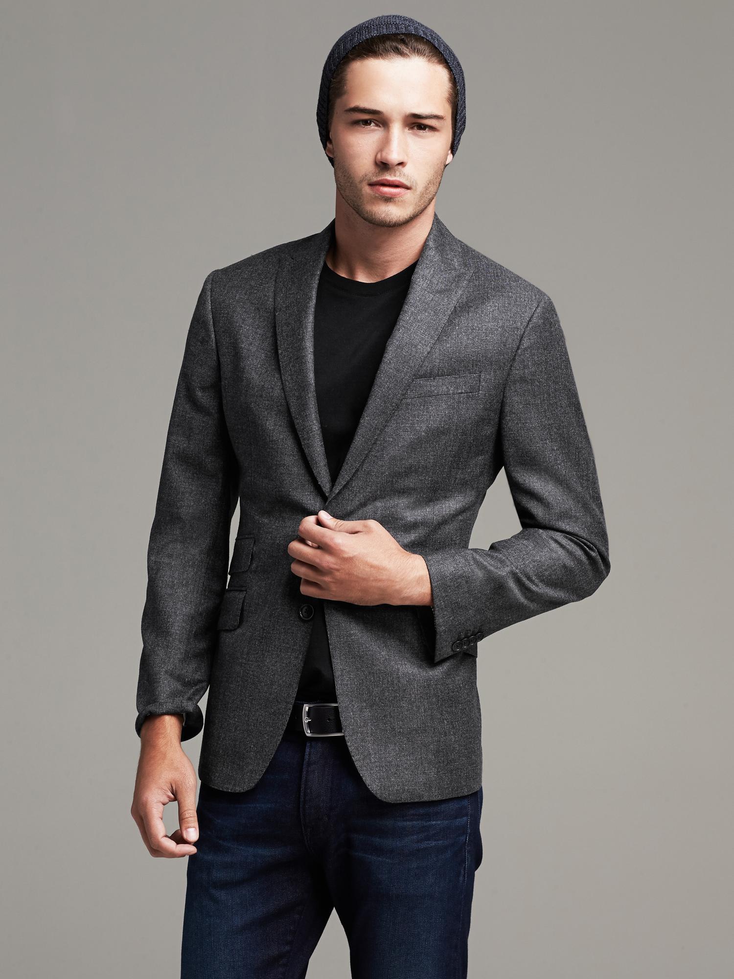 1381b350c2c4 Lyst - Banana Republic Modern Slim-fit Charcoal Wool Suit Jacket in ...
