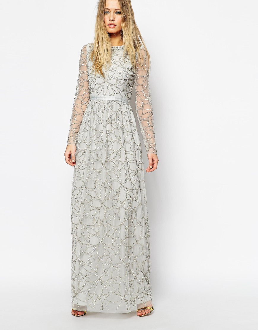 Needle Amp Thread Embellished Iridescent Tulle Maxi Dress In