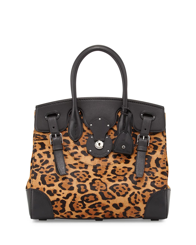 6a77dd959f5d Lyst - Ralph Lauren Soft Ricky 33 Leopard-print Calf Hair Satchel Bag