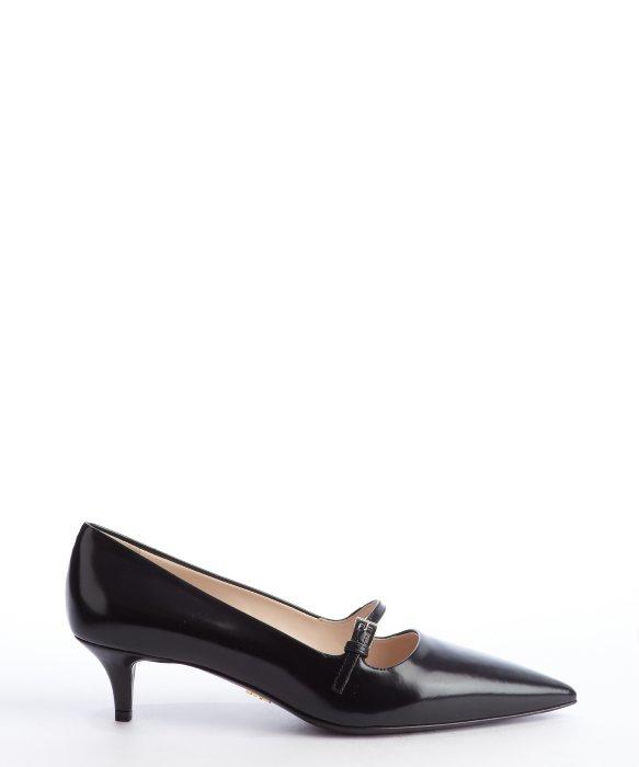 Prada Black Leather Pointed Toe Mary Jane Strap Kitten