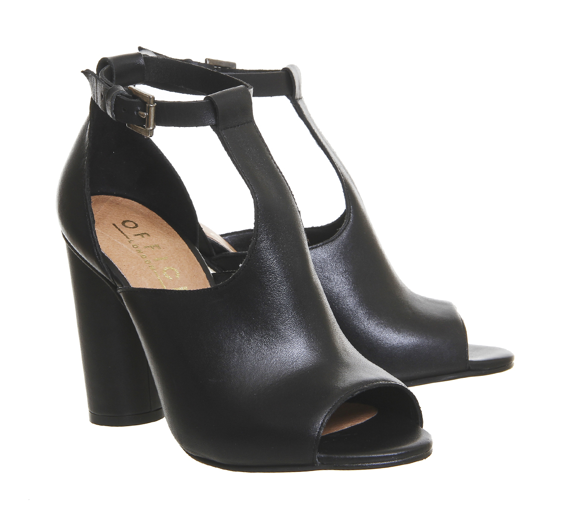 office around cylindrical heeled shoe boots in black lyst