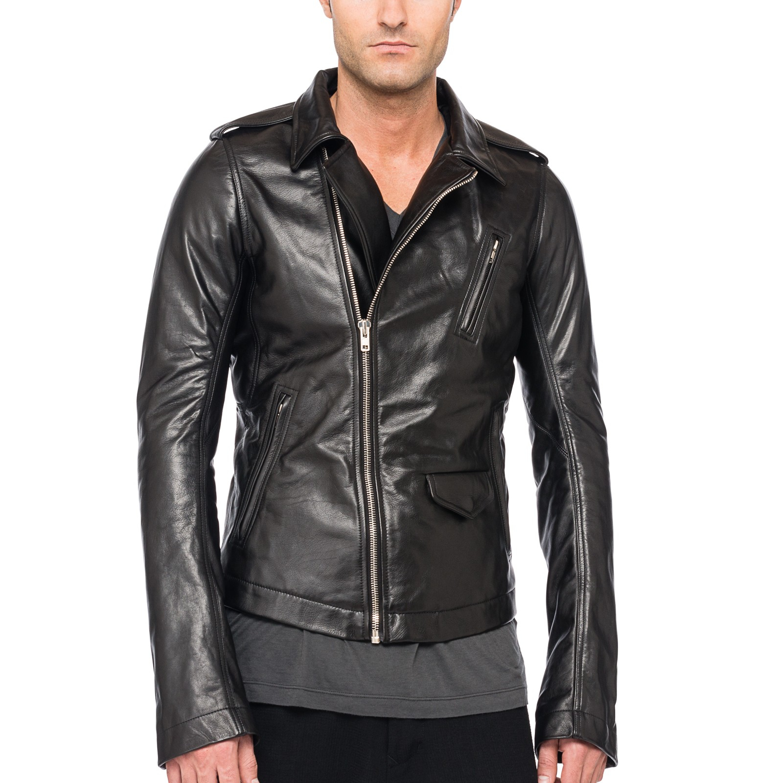 Rick owens Stooges Leather Biker Jacket in Black for Men | Lyst