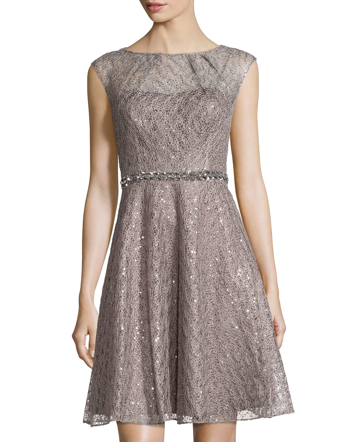 Kay Unger Cap Sleeve Sequined Lace Fit And Flare Dress In