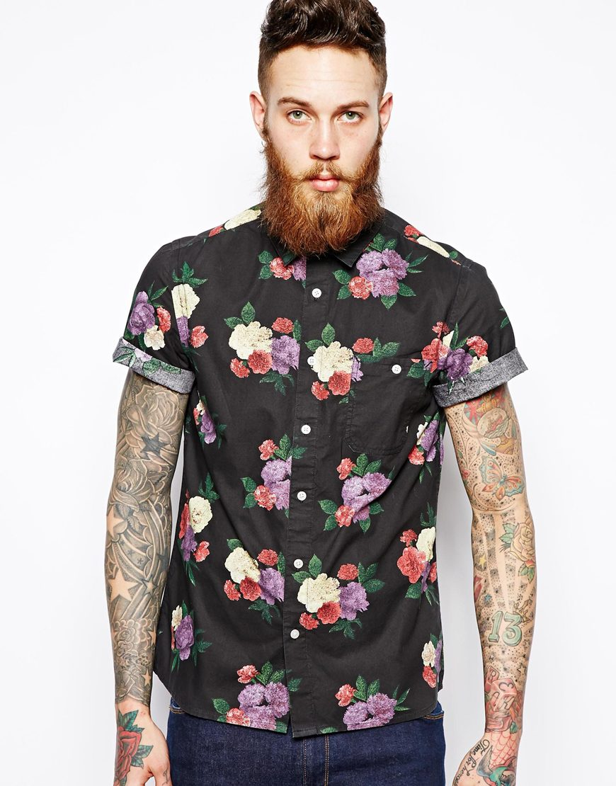 Lyst - Asos Shirt in Short Sleeve with Floral Print in Black for Men