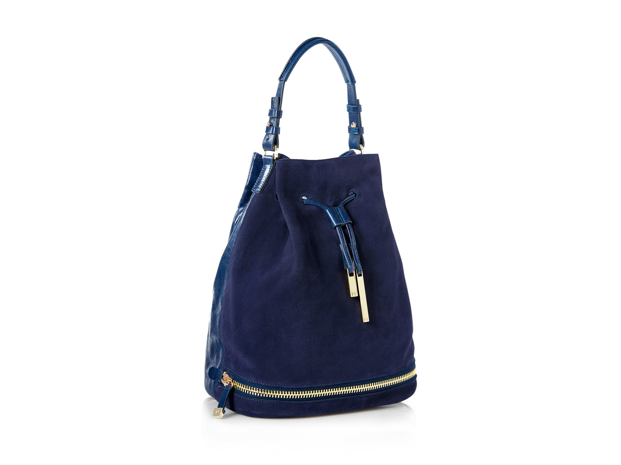 319a340f59 Lyst - Halston Large Top Handle Suede Bucket Bag in Blue