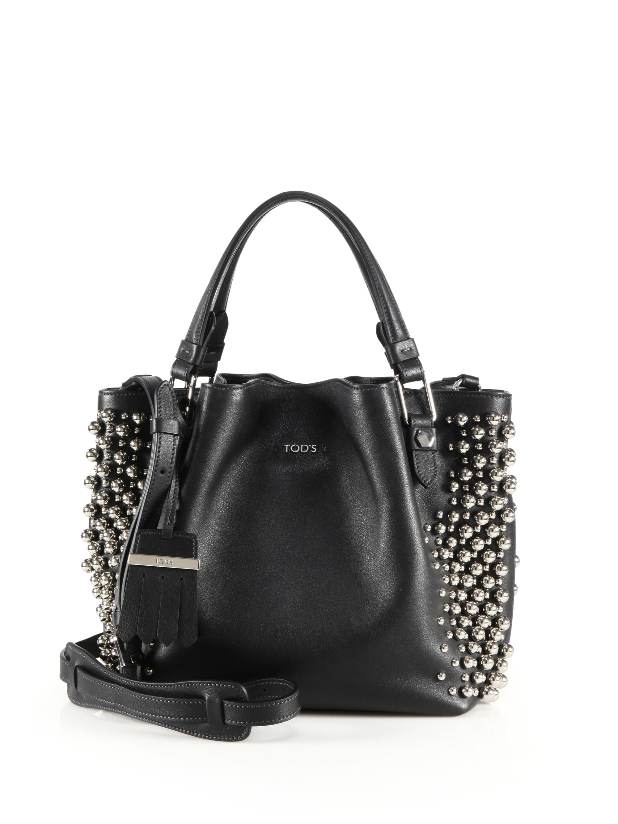 f819a44bcbf06 Tod's Flower Mini Studded Leather Tote in Black - Lyst