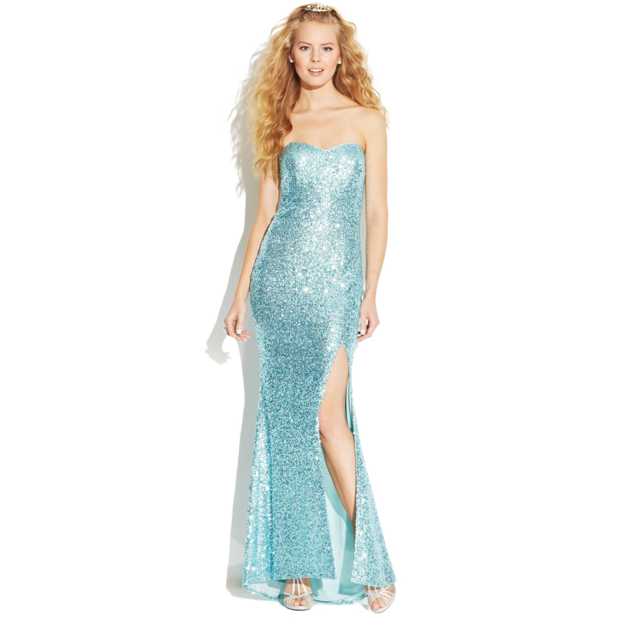 e8b725c0339 Lyst - Jump Juniors Strapless Sequin Gown in Blue